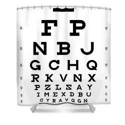 Snellen Chart - Full Alphabet Shower Curtain by Martin Krzywinski