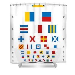 Snellen Chart - Nautical Flags Shower Curtain by Martin Krzywinski