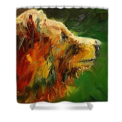 Sniffing For Food Bear Shower Curtain by Diane Whitehead