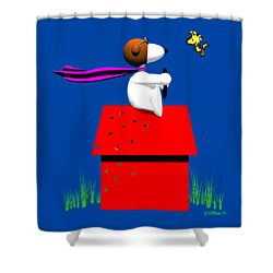 Snoopy Evades The Red Baron Shower Curtain