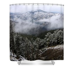 Snow And Clouds In The Mountains Shower Curtain by Larry Ricker