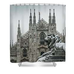 Snow At Milan's Duomo Cathedral  Shower Curtain