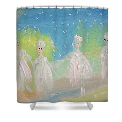 Shower Curtain featuring the painting Snow Ballet by Judith Desrosiers
