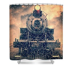Shower Curtain featuring the photograph Snow Bound Steam Train by Edward Fielding