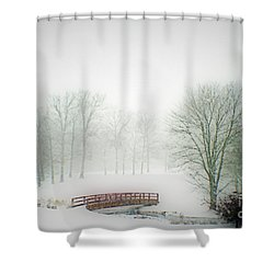Shower Curtain featuring the photograph Snow Bridge by Polly Peacock