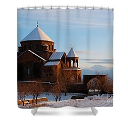 Snow Capped St. Hripsipe Church At Winter, Armenia Shower Curtain