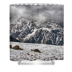 Shower Curtain featuring the photograph Snow Capped Triund Hill by Yew Kwang