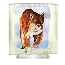 Snow Cougar Shower Curtain by Sherril Porter