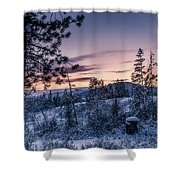 Snow Coved Trees And Sunset Shower Curtain