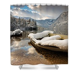 Snow Covered Boat On Lake Bohinj In Winter Shower Curtain by Ian Middleton