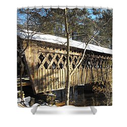 Snow Covered Bridge Shower Curtain by Adam Cornelison