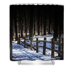 Shower Curtain featuring the digital art Snow Covered Bridge by Kim Henderson