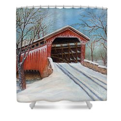 Snow Covered Bridge Shower Curtain