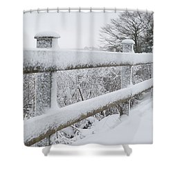 Snow Covered Fence Shower Curtain by Helen Northcott