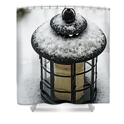 Snow Covered Lamp Shower Curtain
