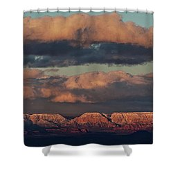 Snow Covered Red Rock Panorama Shower Curtain