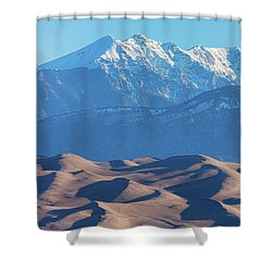 Snow Covered Rocky Mountain Peaks With Sand Dunes Shower Curtain by James BO Insogna