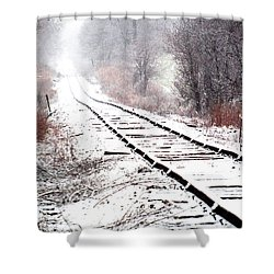 Snow Covered Wisconsin Railroad Tracks Shower Curtain