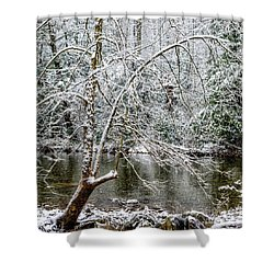 Shower Curtain featuring the photograph Snow Cranberry River by Thomas R Fletcher