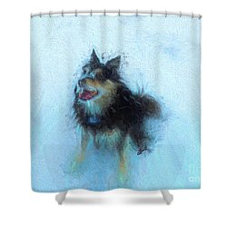 Snow Dog  Shower Curtain by Claire Bull