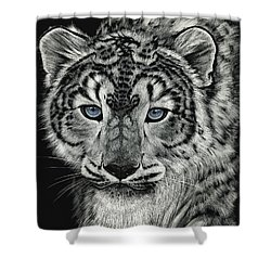 Snow Dragon Leopard Shower Curtain