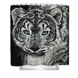 Snow Dragon Leopard Shower Curtain