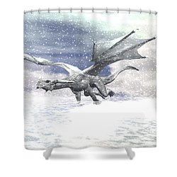 Snow Dragon Shower Curtain