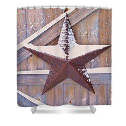 Snow Dusted Barn Star Shower Curtain