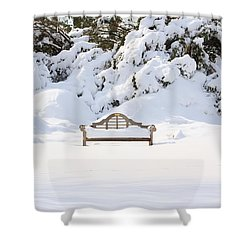 Snow Dwarfed Bench Shower Curtain