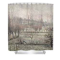 Snow Effect At Eragny Shower Curtain by Camille Pissarro