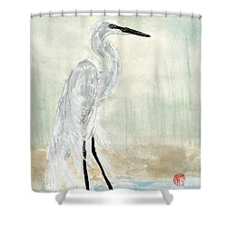 Snow Egret Shower Curtain