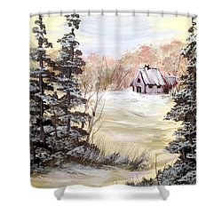 Snow Everywhere Shower Curtain by Dorothy Maier