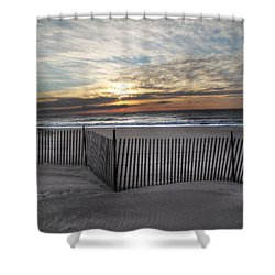 Snow Fence At Coopers Beach Shower Curtain