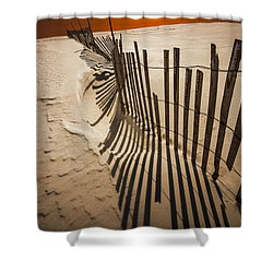 Snow Fence At Sunset Shower Curtain