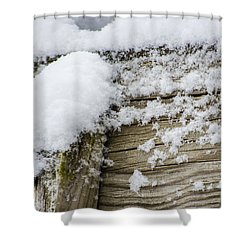 Snow Fluff And Woodgrain Shower Curtain
