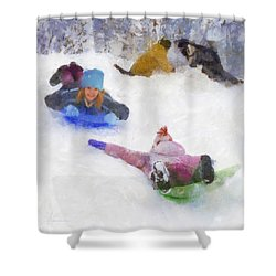 Shower Curtain featuring the digital art Snow Fun by Francesa Miller