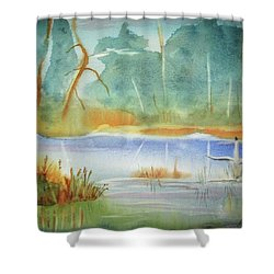 Shower Curtain featuring the painting Snow Goose Landing by Ellen Levinson