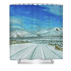 Shower Curtain featuring the photograph Snow In Death Valley by Peter Tellone