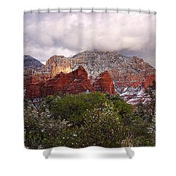Snow In Heaven Panorama Shower Curtain