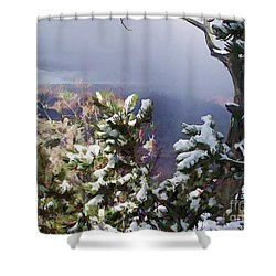 Shower Curtain featuring the photograph Snow In The Canyon by Roberta Byram