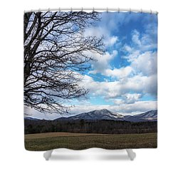 Snow In The High Mountains Shower Curtain