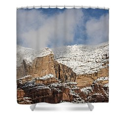 Shower Curtain featuring the photograph Snow Kissed Morning In Sedona, Az by Sandra Bronstein