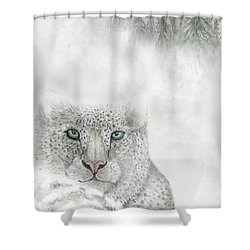 Shower Curtain featuring the digital art Snow Leopard by Darren Cannell