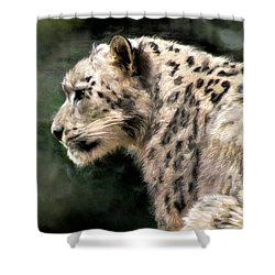 Shower Curtain featuring the digital art Snow Leopard by Kaylee Mason