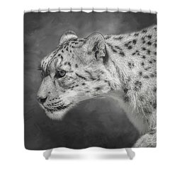 Shower Curtain featuring the digital art Snow Leopard by Nicole Wilde