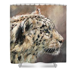 Shower Curtain featuring the painting Snow Leopard Study by David Stribbling