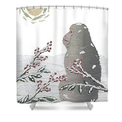 Snow Monkey And Sunrise  Shower Curtain by Keiko Suzuki