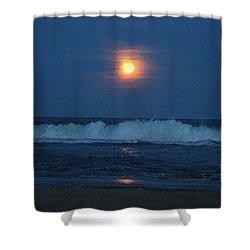 Snow Moon Ocean Waves Shower Curtain