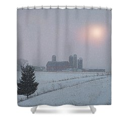 Snow Muted Sunset Shower Curtain by Judy Johnson