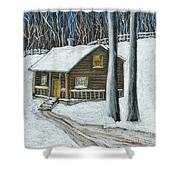 Snow On Cabin Shower Curtain